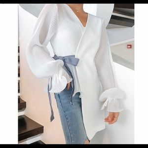 Tops - White baby blue blouse
